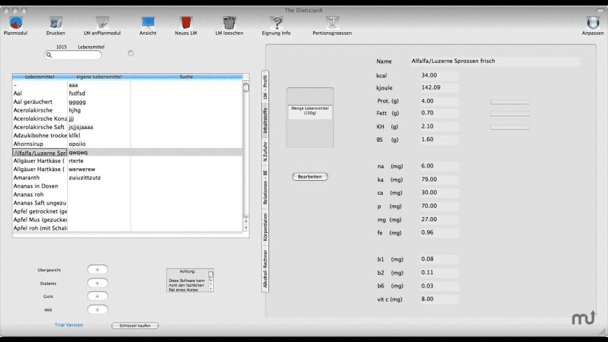Dietician X for Mac - review, screenshots