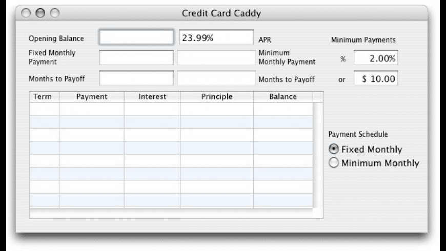Credit Card Caddy for Mac - review, screenshots