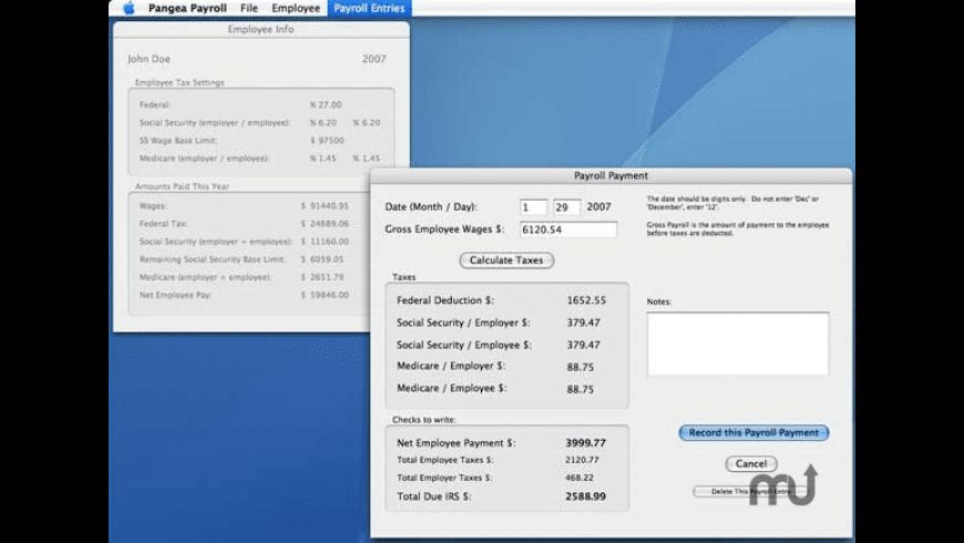Pangea Payroll for Mac - review, screenshots