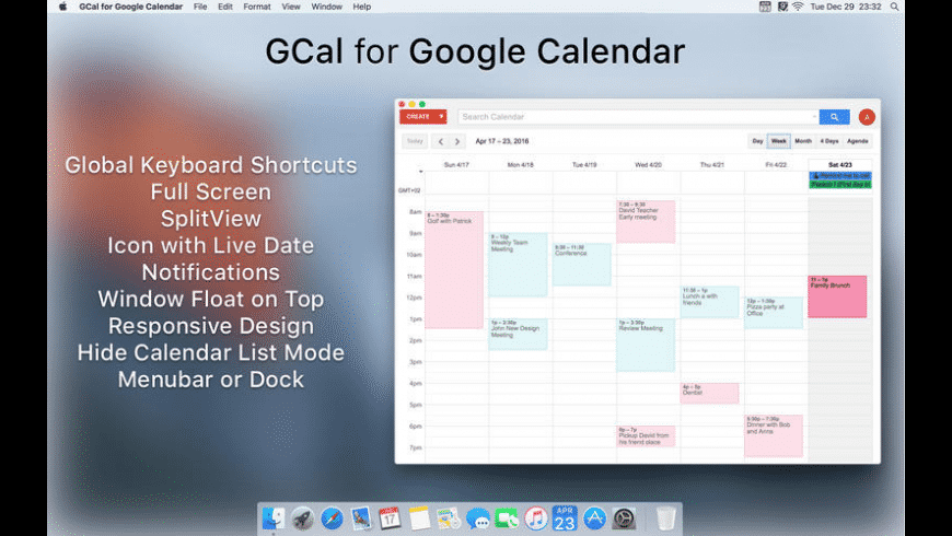 GCal for Google Calendar for Mac - review, screenshots