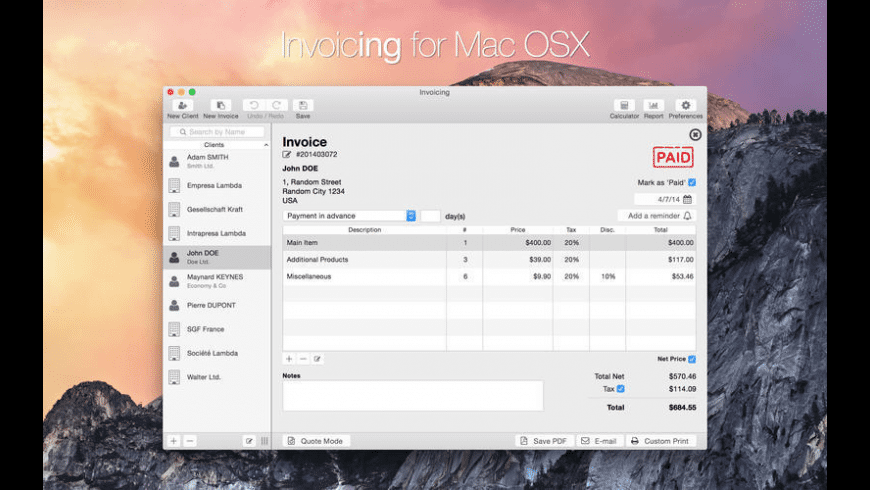 Invoicing for Mac - review, screenshots