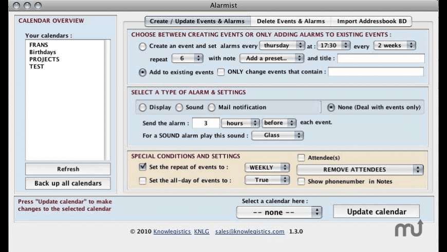 iCal-Alarmist for Mac - review, screenshots