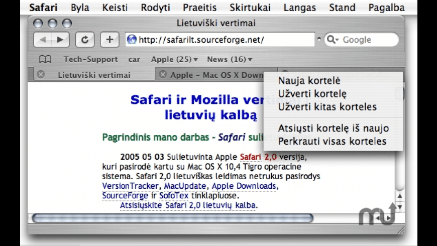 Safari Lithuanian Localization for Mac - review, screenshots