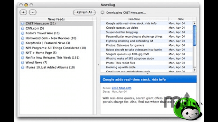 NewsBug for Mac - review, screenshots