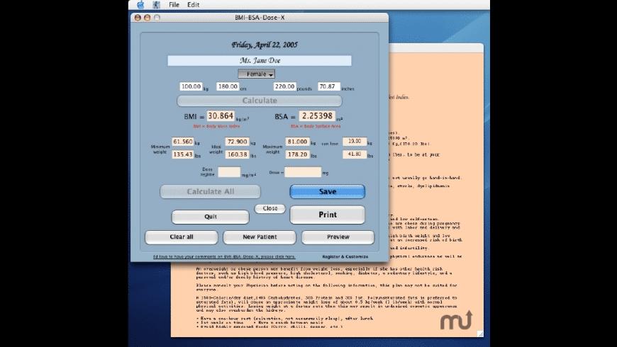 BMI-BSA-Dose-X for Mac - review, screenshots