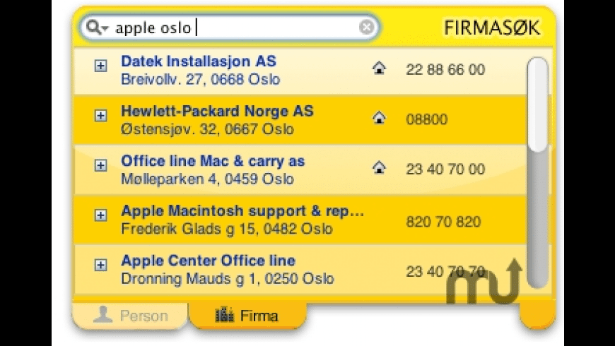 Telefonkatalogen (og gule sider) for Mac - review, screenshots