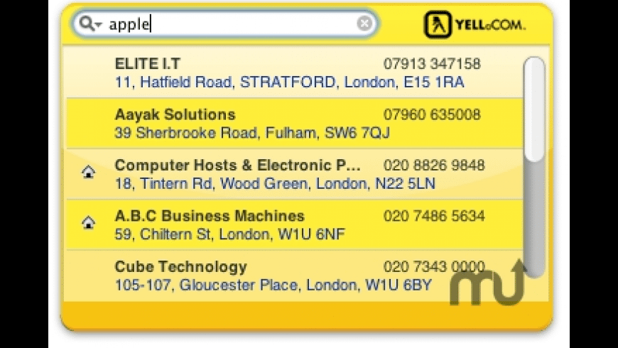 UK Yellow Pages for Mac - review, screenshots