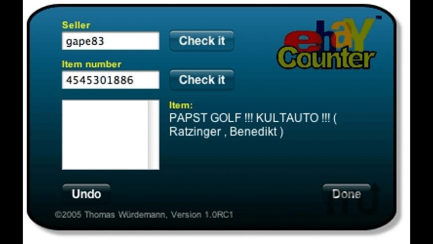 eBayCounter Widget for Mac - review, screenshots