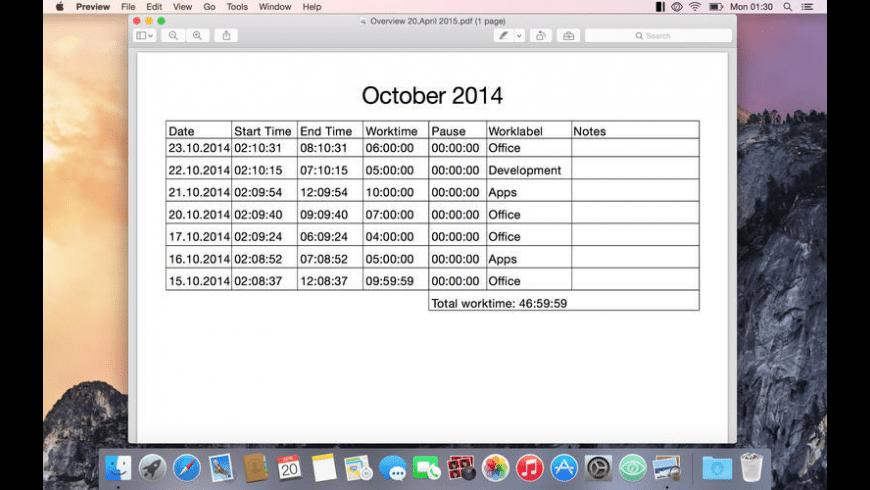 Timecard X for Mac - review, screenshots