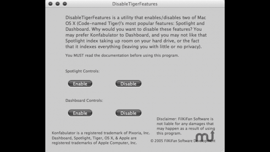 DisableTigerFeatures for Mac - review, screenshots