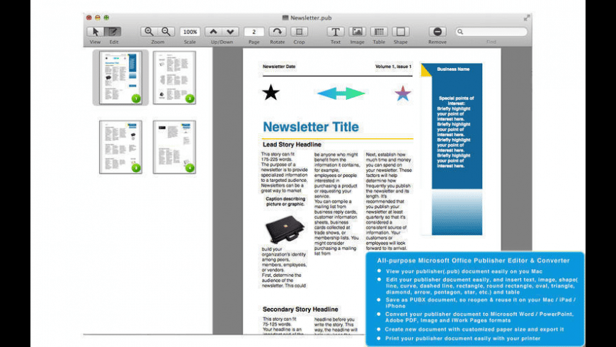 PUB Editor Pro for Mac - review, screenshots
