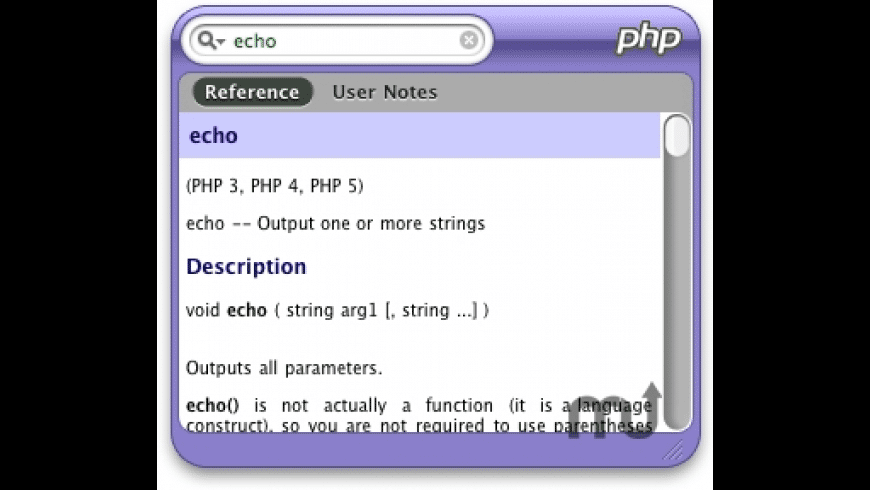 PHPQuickReference for Mac - review, screenshots
