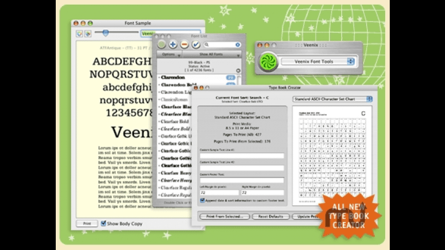 Veenix Font Tools for Mac - review, screenshots