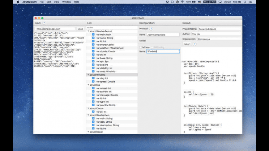 JSON2Swift for Mac - review, screenshots