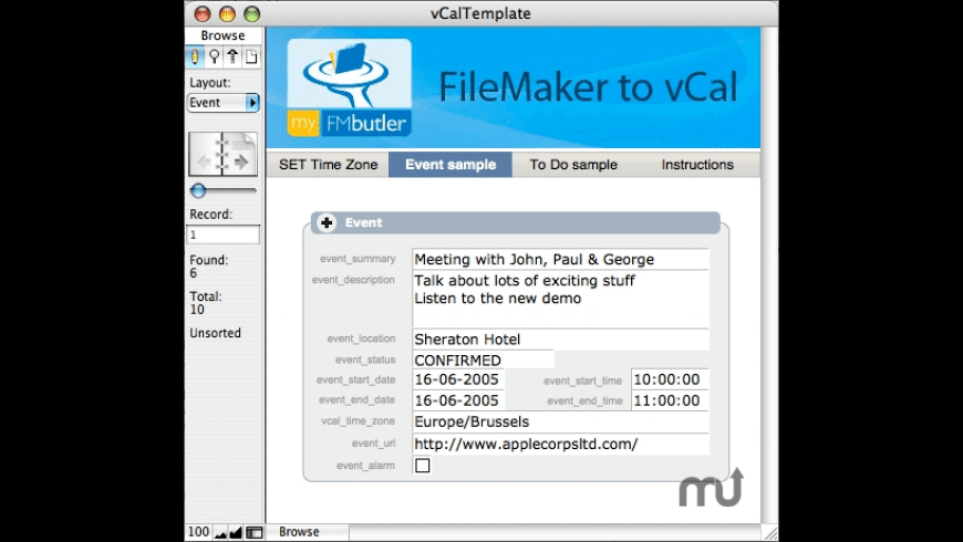 myFMbutler FileMaker to vCal XSLT for Mac - review, screenshots