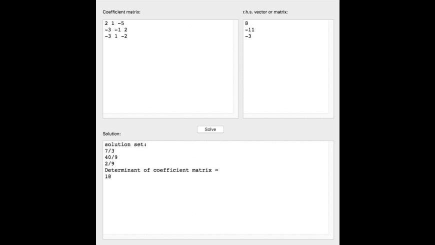 solveLinEqs for Mac - review, screenshots