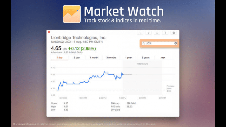 Market Watch for Mac - review, screenshots