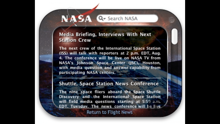 NASA Widget for Mac - review, screenshots
