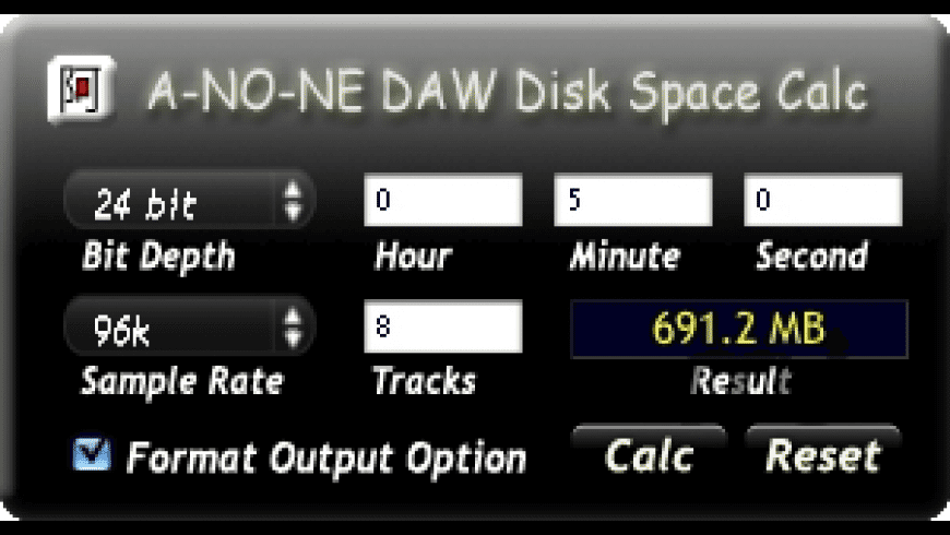 DAW Disk Space Calc for Mac - review, screenshots