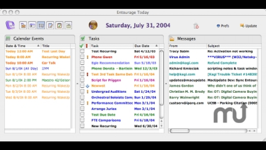 Entourage Today 2004 for Mac - review, screenshots