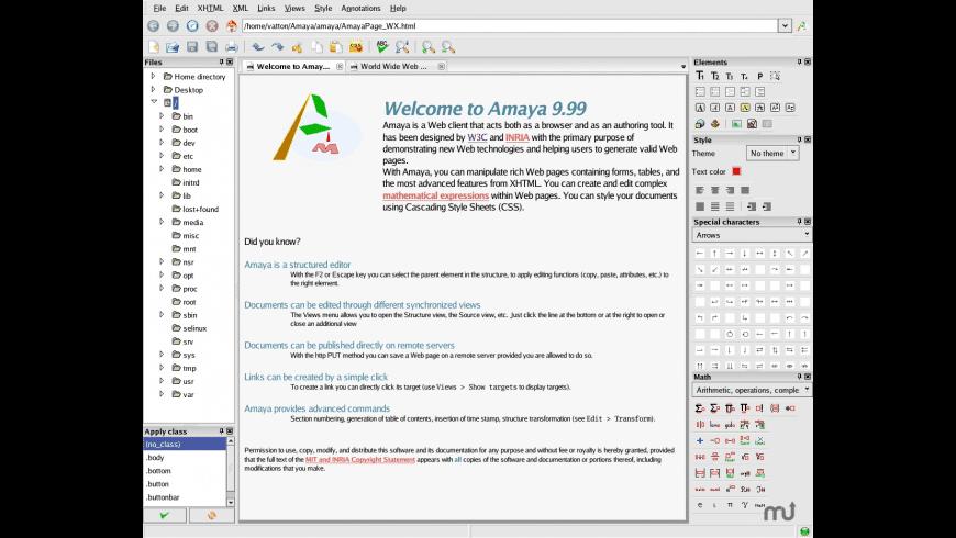 Amaya for Mac - review, screenshots