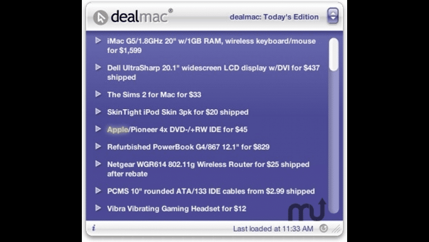 dealmac Widget for Mac - review, screenshots