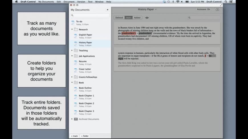 Draft Control for Mac - review, screenshots