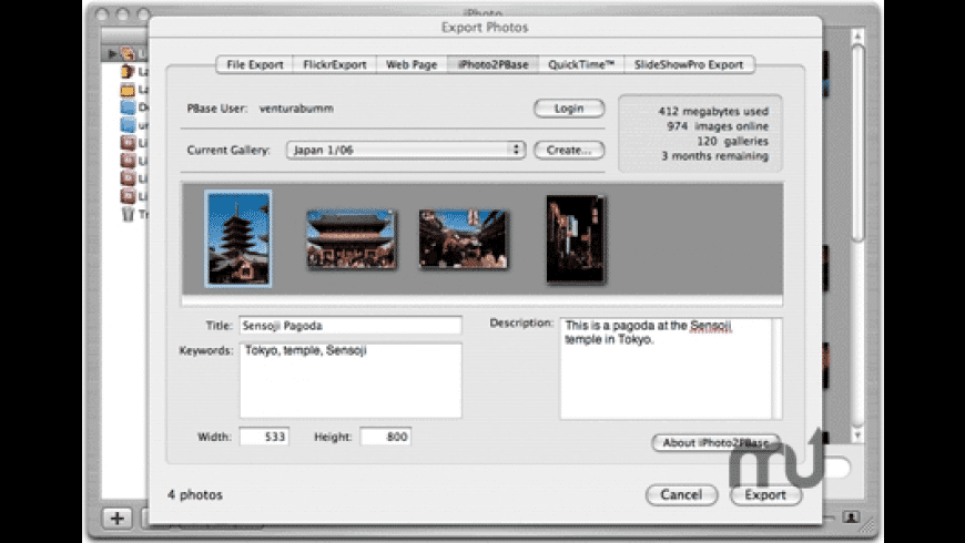 iPhoto2PBase for Mac - review, screenshots