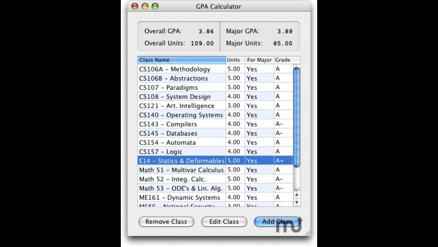 GPA Calculator for Mac - review, screenshots