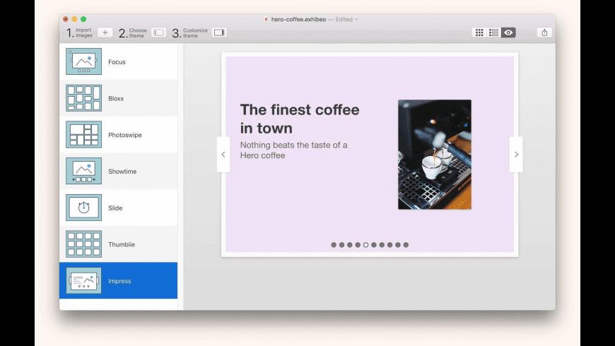 Exhibeo for Mac - review, screenshots