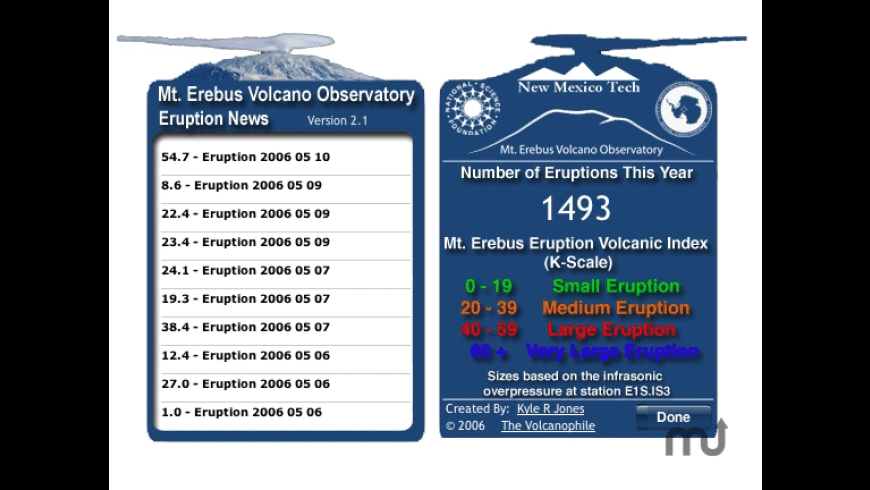 Mt. Erebus Volcano Observatory Eruption News for Mac - review, screenshots