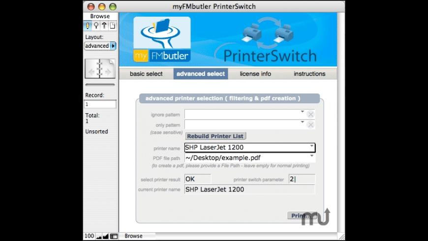 myFMbutler PrinterSwitch for Mac - review, screenshots
