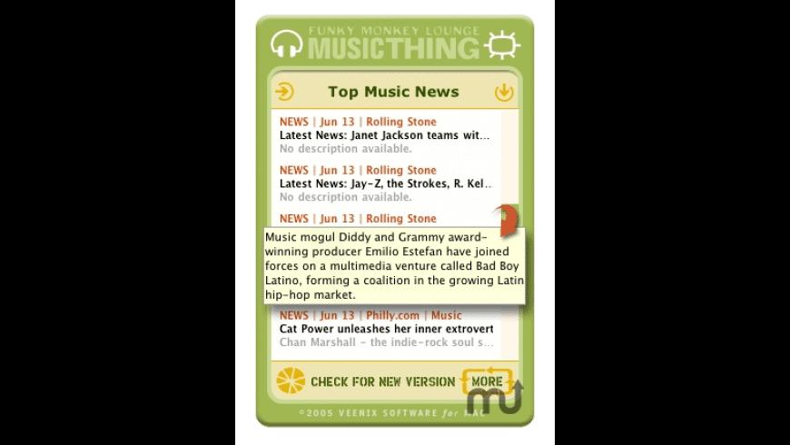 Funky Monkey Lounge Music Thing Widget for Mac - review, screenshots