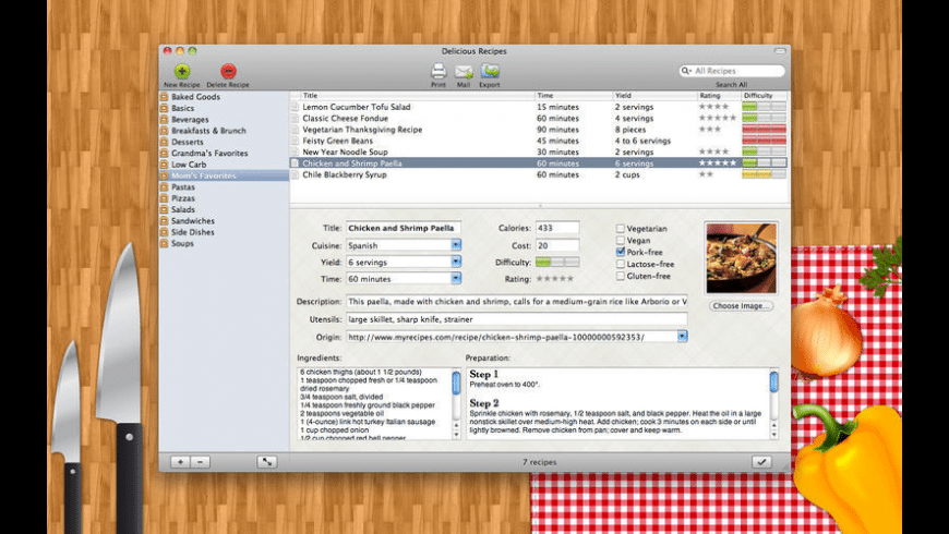 Delicious Recipes for Mac - review, screenshots