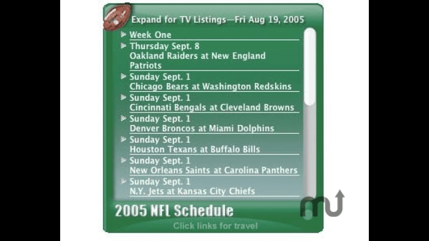 NFL Schedule and Travel for Mac - review, screenshots