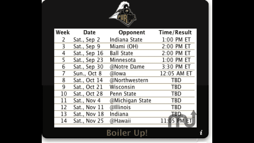 Purdue Football for Mac - review, screenshots