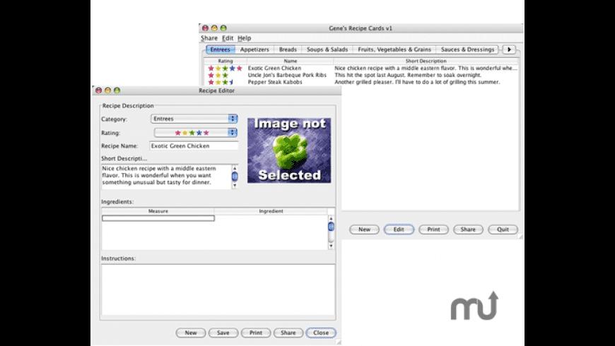 Gene's Recipe Cards for Mac - review, screenshots