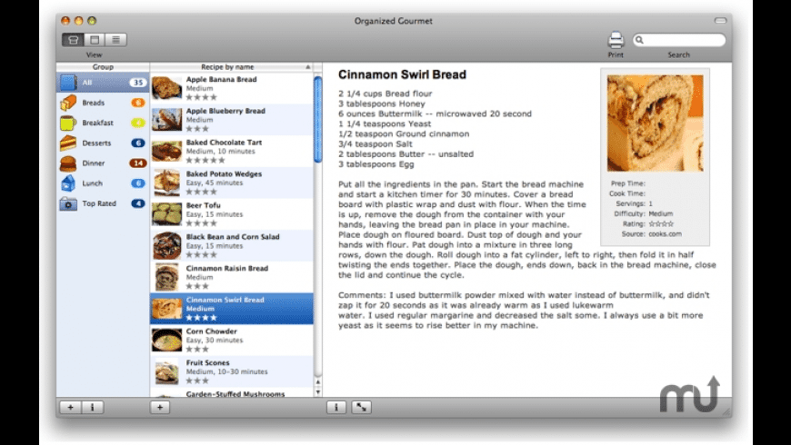 Organized Gourmet for Mac - review, screenshots