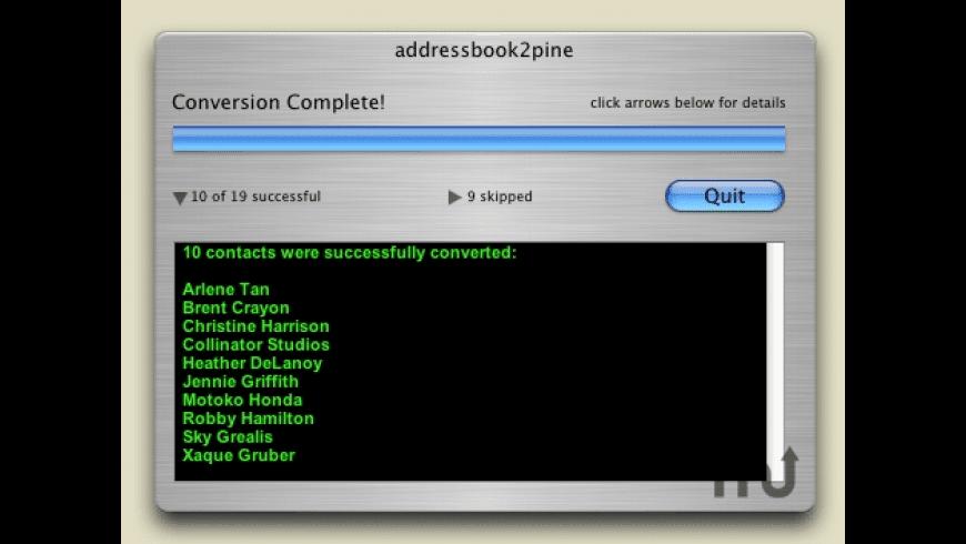 addressbook2pine for Mac - review, screenshots