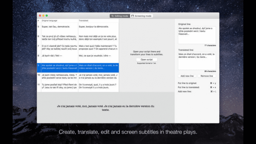 Subtitles for theatre for Mac - review, screenshots