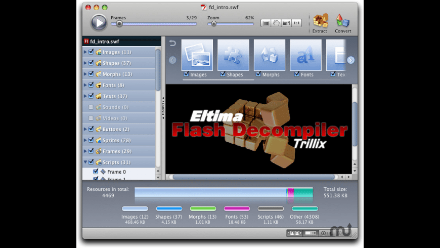 Flash Decompiler Trillix for Mac - review, screenshots