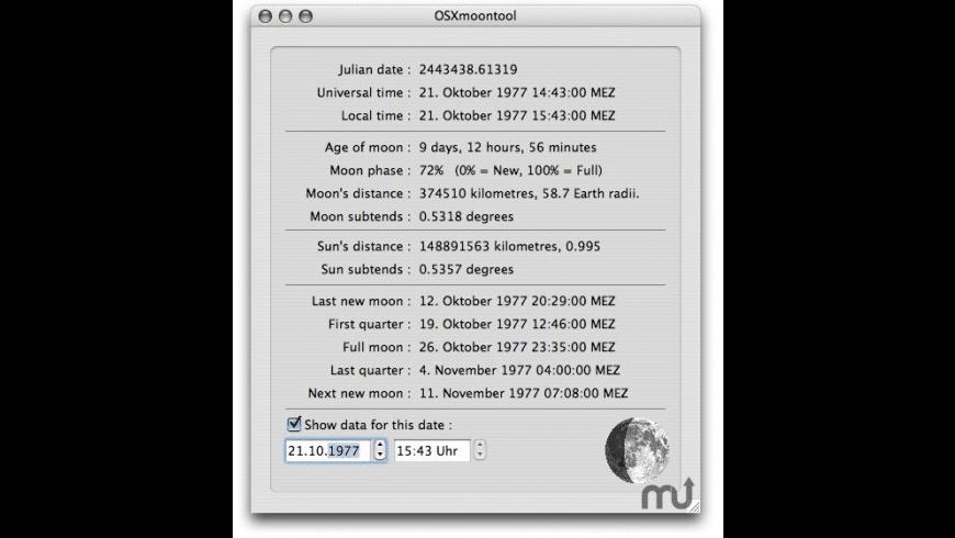OSXmoontool for Mac - review, screenshots