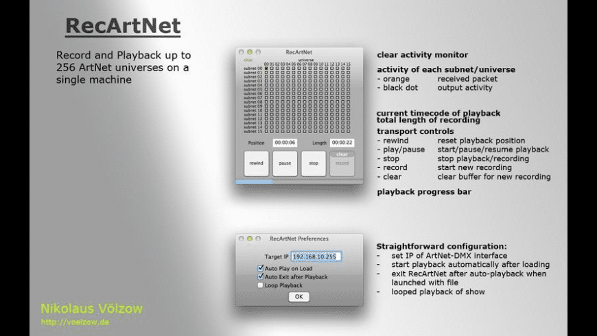 RecArtNet for Mac - review, screenshots