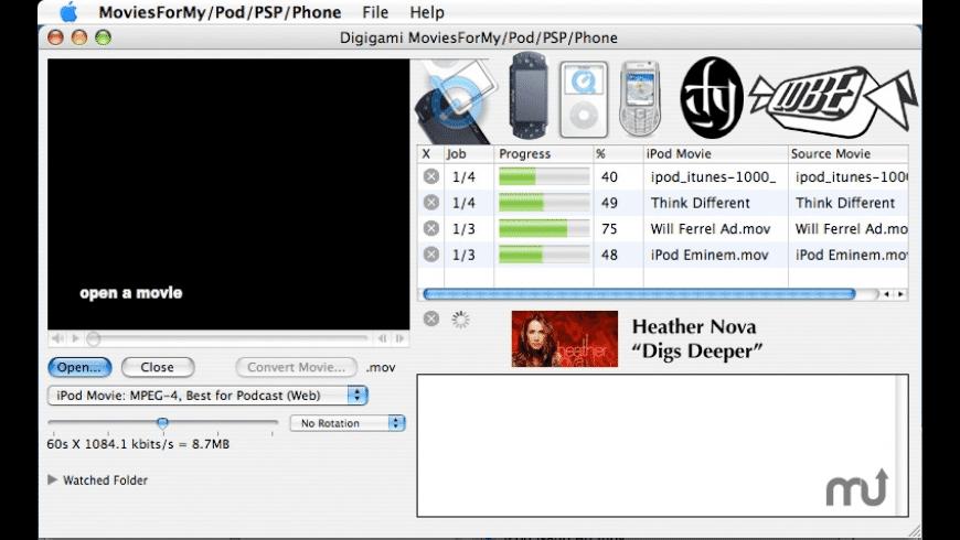 MoviesForMyPod/PSP/Phone for Mac - review, screenshots