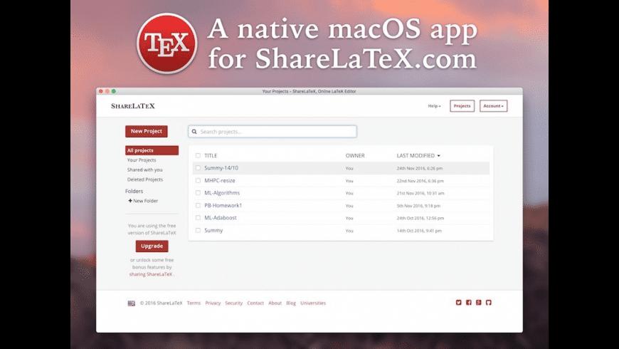 Native-ShareLaTeX for Mac - review, screenshots