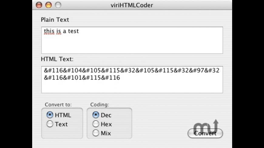 viriHTMLCoder for Mac - review, screenshots
