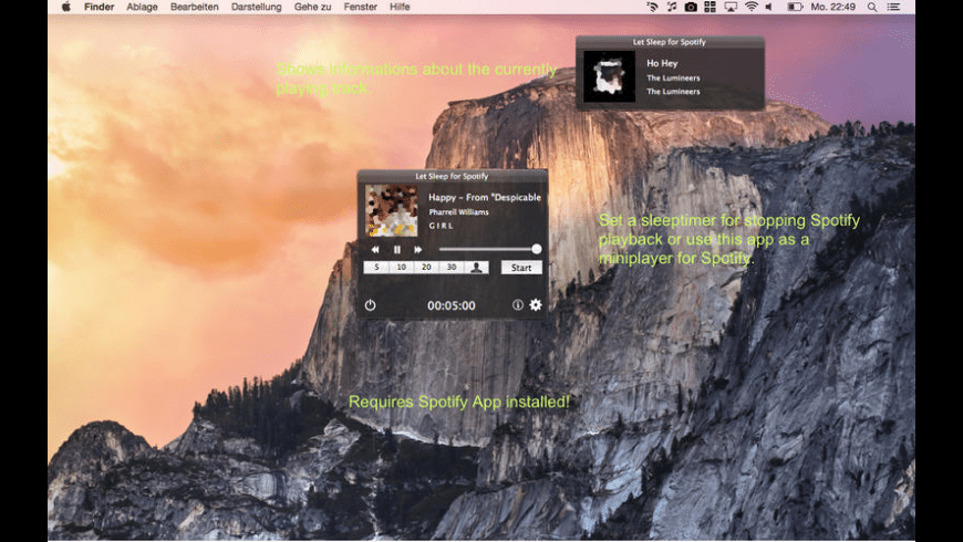 Let Sleep For Spotify for Mac - review, screenshots
