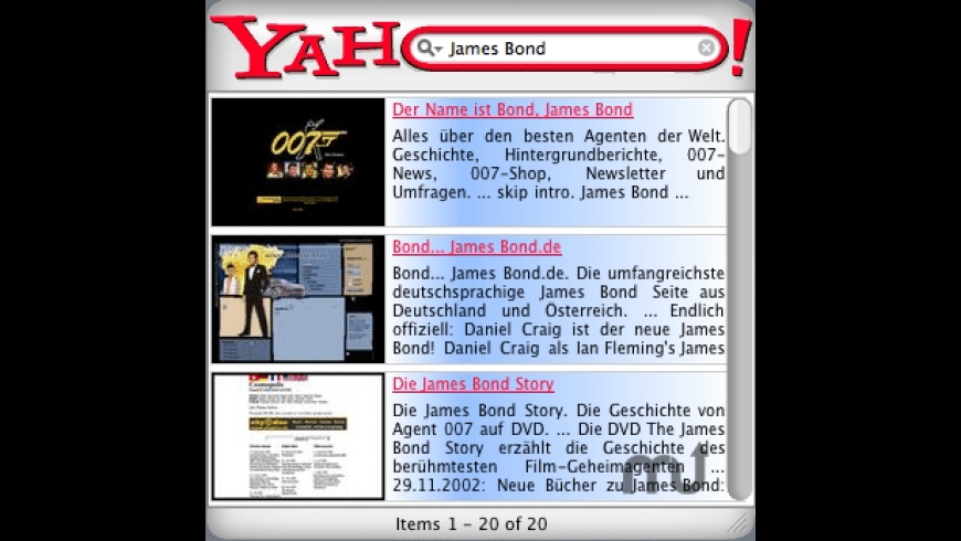 007 with the licence to search - Yahoo for Mac - review, screenshots
