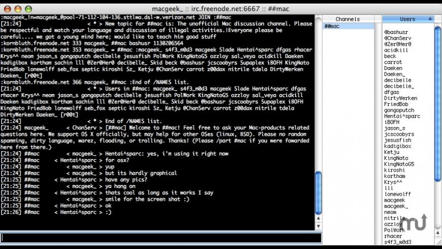 simple irc for Mac - review, screenshots
