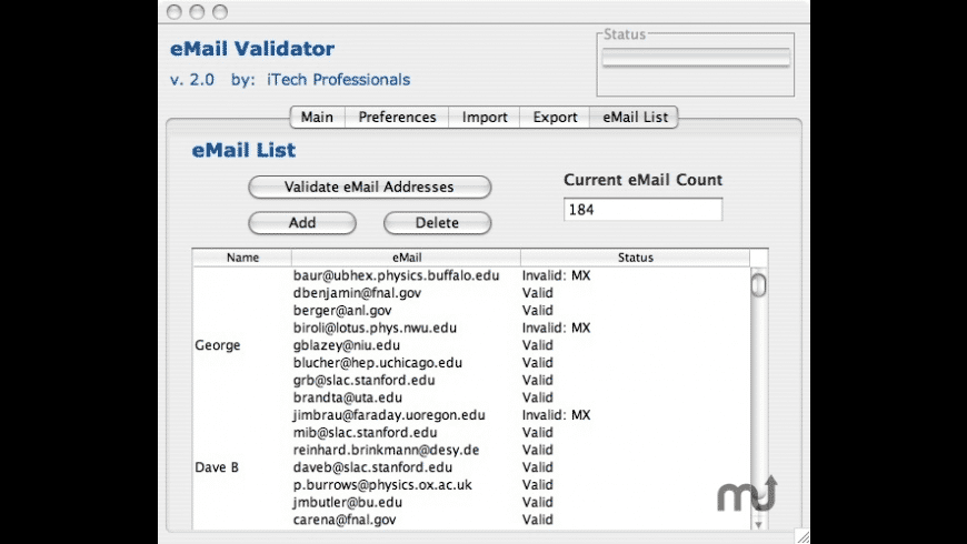 eMail Validator for Mac - review, screenshots